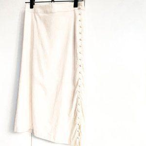 NWT madewell cream button slit midi skirt size 8